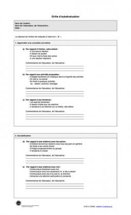 Document : Grille d'autoévaluation