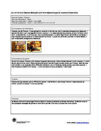 Document : Exemple de journal de bord : Thomas